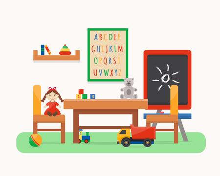 preschool teacher: Kindergarten preschool playground. Childrens table with toys, wardrobe, cubes and chalk board. Flat style vector illustration. Illustration