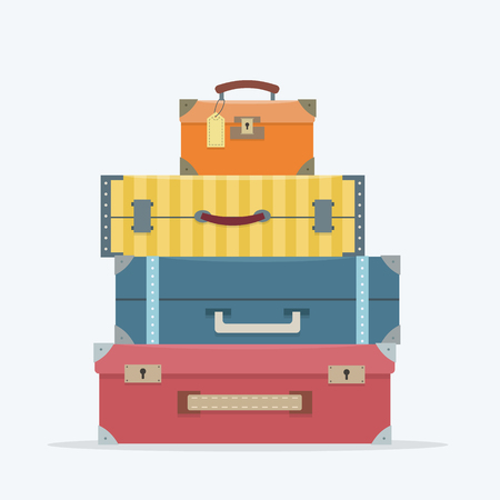 suitcase packing: Baggage on background. Flat style vector illustration. Illustration