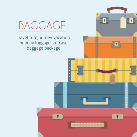 El equipaje en el fondo. ilustración vectorial de estilo plano. Foto de archivo - 52617211