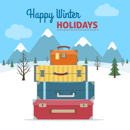 summer holiday: Baggage, luggage, suitcases  with a snowy landscape with trees and fir trees on background. Winter holidays. Flat style vector illustration. Illustration