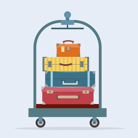 Baggage on trolley. Flat style vector illustration.