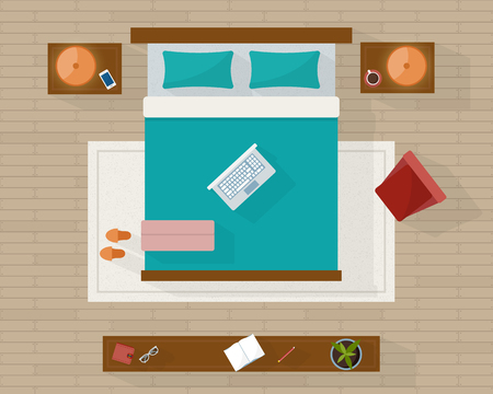 views: Bedroom with furniture overhead top view. Apartment plan. Flat style vector illustration.
