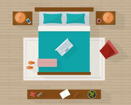 Dormitorio con muebles de arriba de la visión superior. plano detallado. ilustración vectorial de estilo plano.