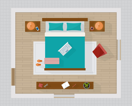 overhead view: Bedroom with furniture overhead top view. Apartment plan. Flat style vector illustration.