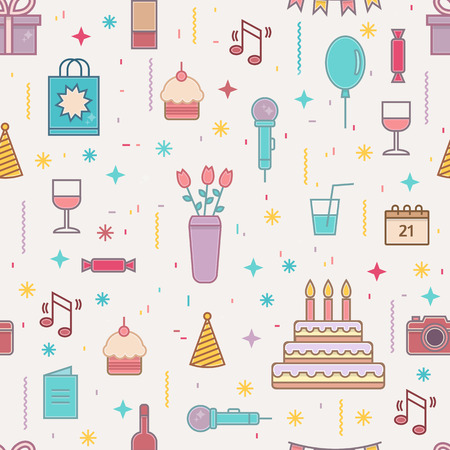 cakes background: Happy Birthday seamless pattern. Line style vector illustration. Illustration