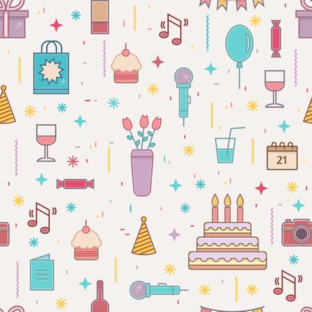 flores de cumpleaños: Modelo inconsútil del feliz cumpleaños. ilustración vectorial estilo de línea.