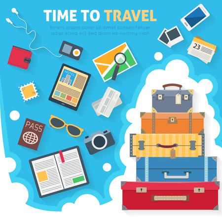 Bagage met reizen iconen en objecten. Vlakke stijl vector illustratie.
