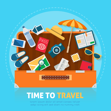 suitcase packing: Open baggage, luggage, suitcases with travel icons and objects. Flat style vector illustration.