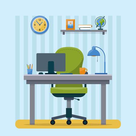 事務所の職場。キャビネット テーブルとコンピューター ワークスペース。テクスチャがフラット スタイル ベクトル イラスト。  イラスト・ベクター素材