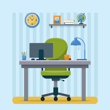 cartoon space: Workplace in office. Cabinet with workspace with table and computer. Flat style vector illustration with texture.