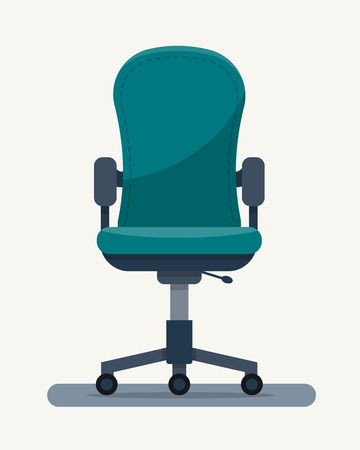 vector chair: Office workplace chair with quote on paper. Flat style vector illustration.