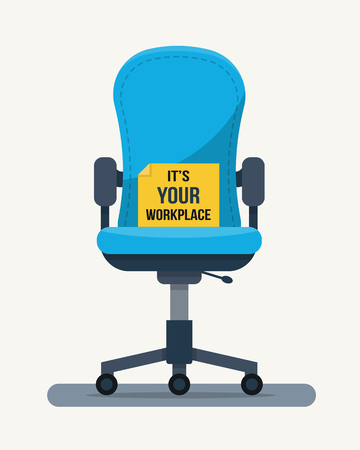 Office workplace chair with quote on paper. Flat style vector illustration.