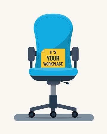 silla de oficina de trabajo con cita en papel. ilustración vectorial de estilo plano. Ilustración de vector