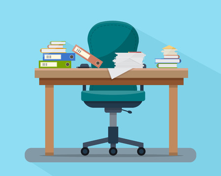 folder design: Busy cluttered office table. Hard work. Office interior with books, folders, papers and letters on table. Flat style vector illustration.