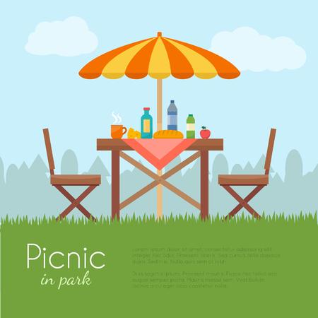 Odkryty piknik w parku. Stół z krzesłami i parasolem. Płaski ilustracji wektorowych stylu.