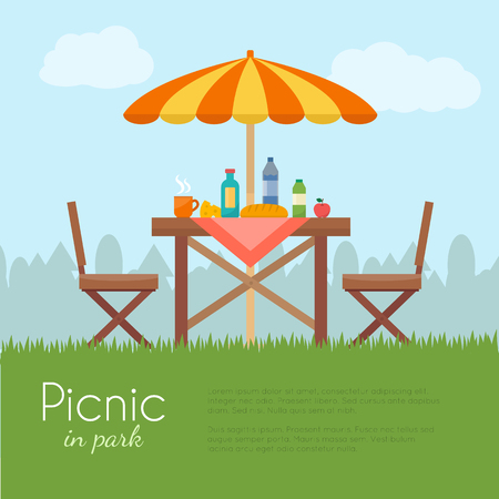 wood furniture: Outdoor picnic in park. Table with chairs and umbrella. Flat style vector illustration.