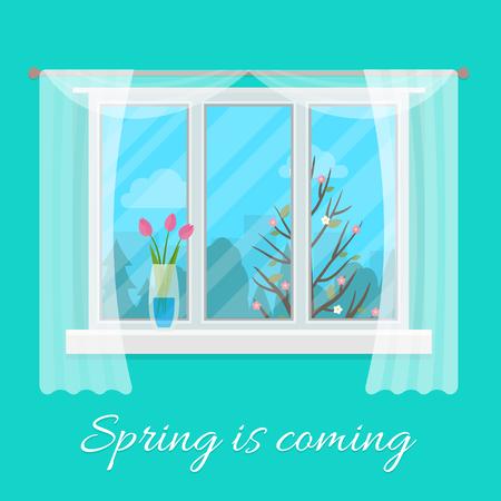 window open: Spring on window. Flat style vector illustration. Illustration
