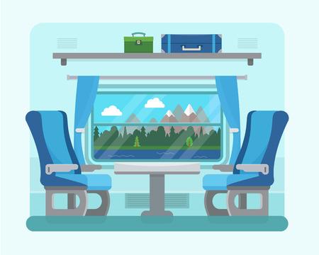 estacion de tren: Tren de pasajeros en el interior. Asiento en el transporte ferroviario. Los viajes y el transporte en tren. ilustración vectorial de estilo plano.