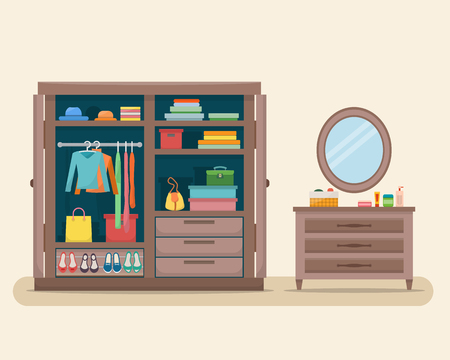 clothes cartoon: Wardrobe for cloths with boudoir and mirror. Closet with clothes, bags, boxes and shoes. Flat style vector illustration.