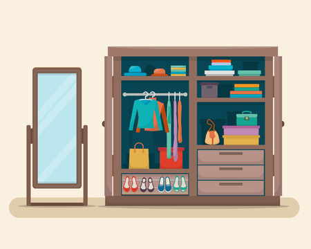 hanging clothes: Wardrobe for cloths with boudoir and mirror. Closet with clothes, bags, boxes and shoes. Flat style vector illustration.