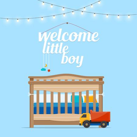 Bienvenue bébé petit garçon. Espace bébé avec lit et les mots. intérieur Nursery. Flat illustration vectorielle de style.
