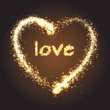 golden heart: Sparkling golden heart with love on dark background Illustration