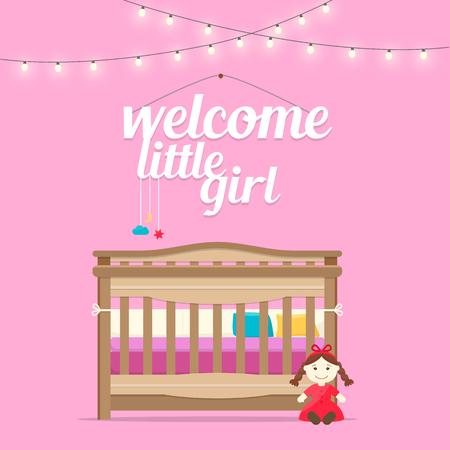 Bienvenue bébé petite fille. Espace bébé avec lit et les mots. intérieur Nursery. Flat illustration vectorielle de style.