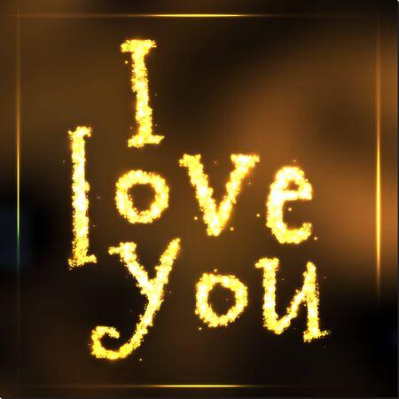 gold heart: Hand written sparkling golden words i love you on dark background Illustration
