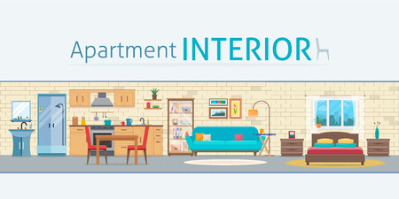 cottage: Apartment inside. Detailed modern house interior. Rooms with furniture. Flat style vector illustration.