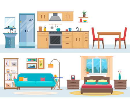 modern apartment: Apartment inside. Detailed modern house interior. Rooms with furniture. Flat style vector illustration.