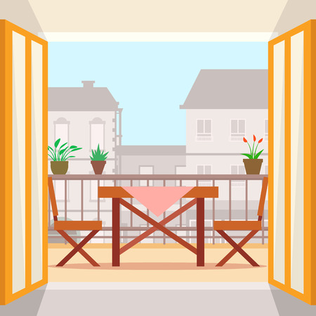 Table and chairs on the balcony. Flat style vector illustration.
