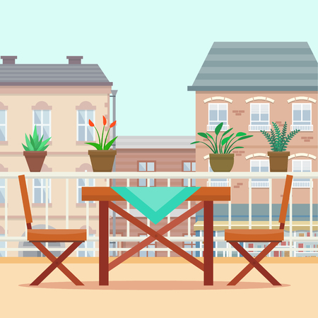porch chair: Table and chairs on the balcony. Flat style vector illustration.