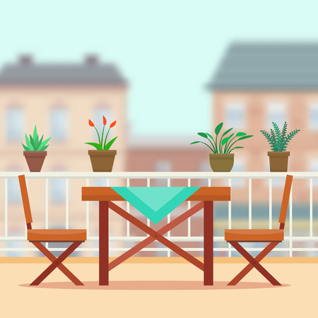 patio chair: Table and chairs on the balcony. Flat style vector illustration.