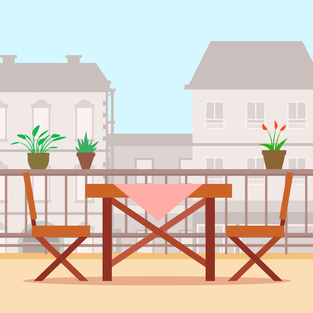 balcony view: Table and chairs on the balcony. Flat style vector illustration.