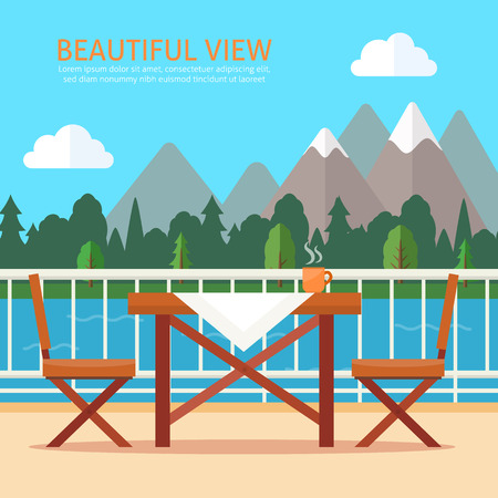 patio chair: Table and chairs on the balcony with nature landscape. Flat style vector illustration.