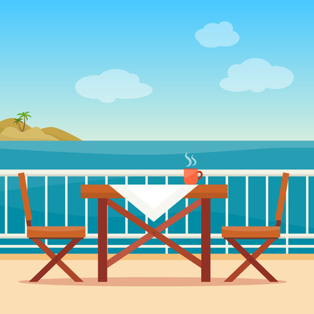 patio chair: Table and chairs on the balcony with sea landscape. Beach chair with sea on background. Flat style vector illustration. Illustration