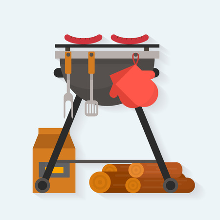 Barbecue. Sausages on grill with tools and firewood. Flat style vector illustration.