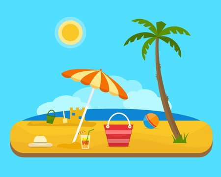 Relax and play on the beach under a palm tree. Umbrella, ball and beach bag with sea on tropical background. Sand castle. Flat style vector illustration.