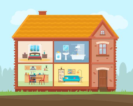 wooden doll: House in cut. Detailed modern home interior. Rooms with furniture. Flat style vector illustration.