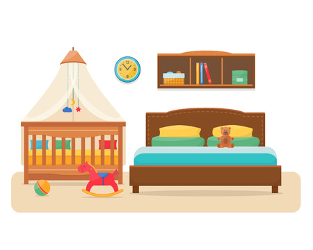 bedroom bed: Bedroom with parents bed and baby cot. Nursery interior. Welcome, little baby. Flat style vector illustration. Illustration