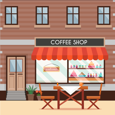 cafe shop: Street cafe. Table and chairs with coffee shop. Flat style vector illustration.