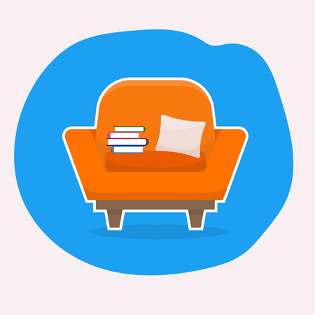 Chair with white stroke. Flat style vector illustration.