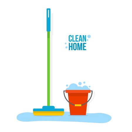 mop floor: Bucket and mop for cleaning the floor at home. Clean house. Flat style vector illustration.