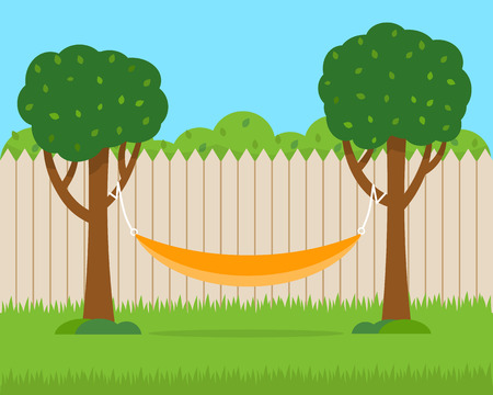Hammock with trees on house backyard. Flat style vector illustration.