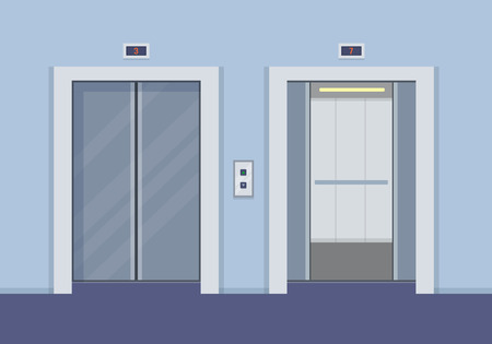descend: Elevator doors, open and close. Flat style vector illustration. Illustration
