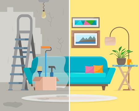 Kamer voor en na de reparatie. Thuis inter renovatie. Vlakke stijl vector illustratie.