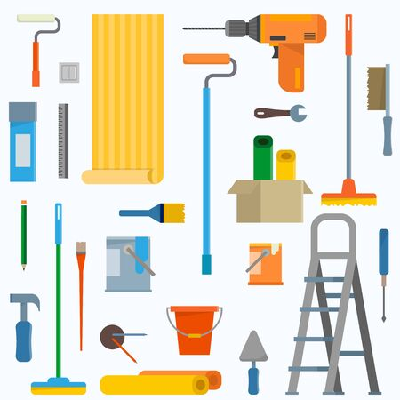 finishing: Room repair in home icons. Interior renovation in apartment and house. Flat style vector illustration. Illustration
