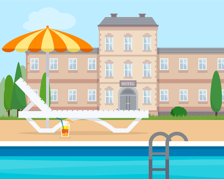 poolside: Lounge with umbrella near the pool of hotel. Flat style vector illustration.