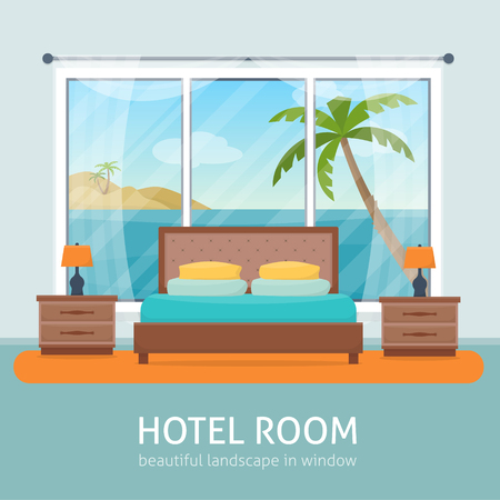 Hotel room with beach and sea landscape in window. Hotel apartment. Flat style vector illustration. Illustration