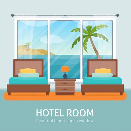 beach window: Hotel room with beach and sea landscape in window. Hotel apartment. Flat style vector illustration. Illustration